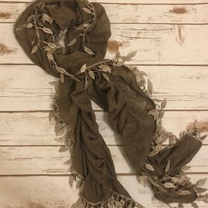 Ruched scarf with faux feather accents